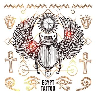 Egipt okultystyczny tatuaż ilustracja