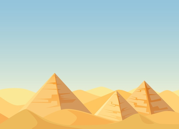 Egipt piramidy pustynia krajobraz kreskówka mieszkanie.