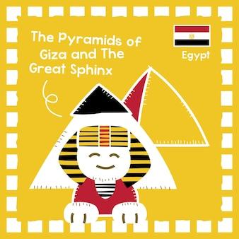 Egipt piramidy w gizie i ilustracja wielkiego sfinksa z uroczym wzorem znaczka
