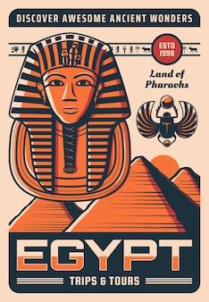 Egipt plakat podróżniczy ze starożytnymi egipskimi zabytkami