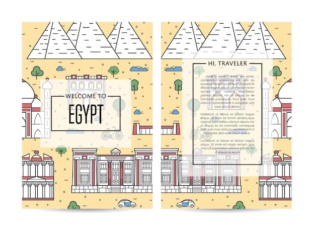 Egipt podróży banery ustawione w stylu liniowym