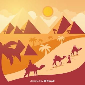 Egipt tło z krajobrazem w płaskim projekcie