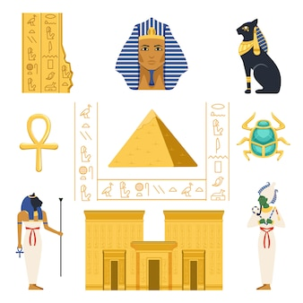Egipt zestaw, egipskie starożytne symbole kolorowe ilustracje na białym tle