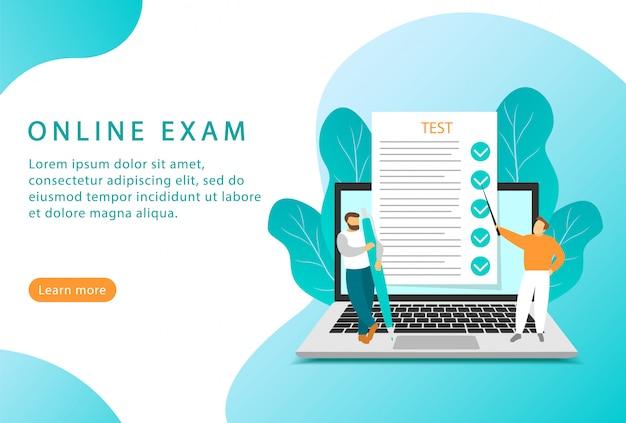 Egzamin online. edukacja i testy online. płaski styl. strona docelowa dla stron internetowych.