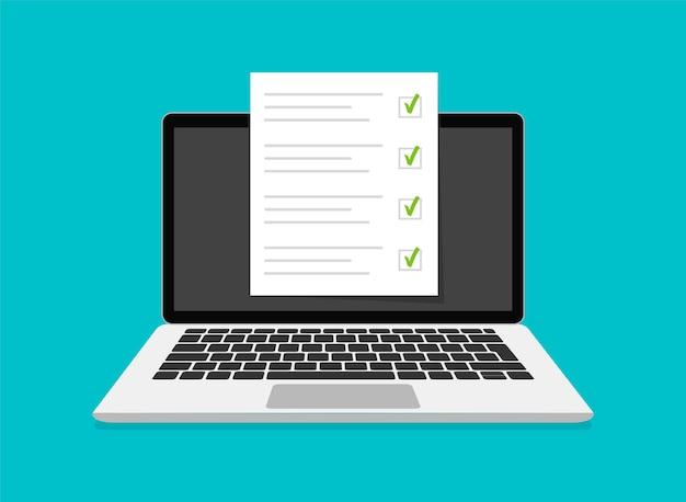 Egzamin online, lista kontrolna i testy online na ekranie laptopa. ankiety online powstają na ekranie komputera. płaska konstrukcja. ilustracja.