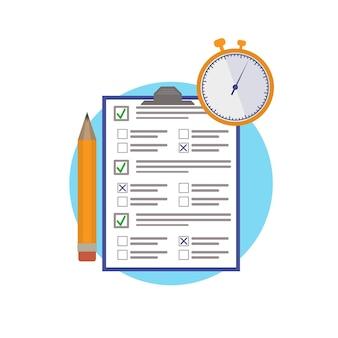 Egzamin online test na papierze na czas element ikony projektu ołówek z pytaniami i odpowiedziami oraz stoper