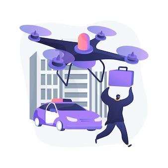 Egzekwowanie prawa drony streszczenie ilustracja koncepcja
