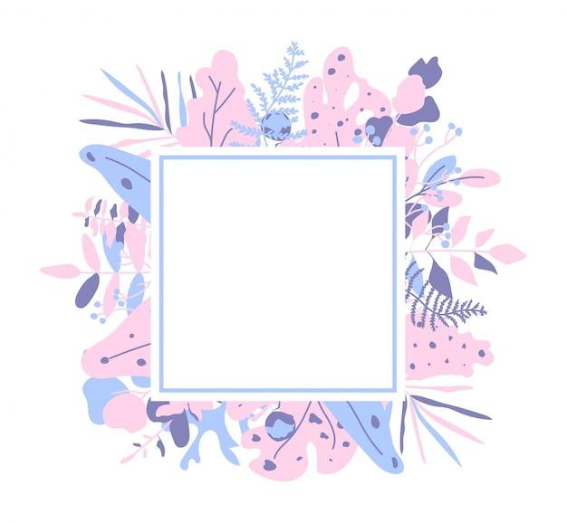 Egzot opuszcza zbliżenie kolorowego skład. element dekoracyjny z liśćmi palmowymi i ramą monstera