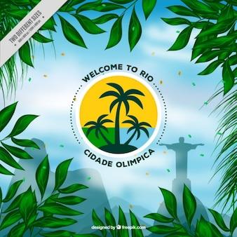 Egzotyczna brazylia tle zielonych liści