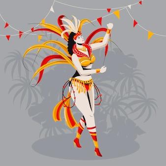 Egzotyczna brazylijska tancerka karnawałowa o tropikalnych liściach
