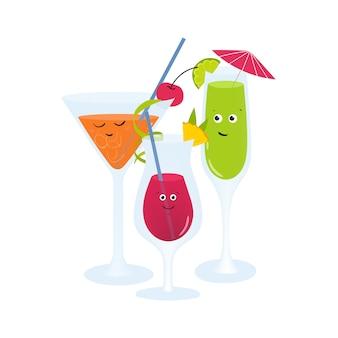 Egzotyczne koktajle w okularach z uroczymi uśmiechniętymi twarzami. orzeźwiające napoje bezalkoholowe i alkoholowe oraz napoje ozdobione owocami, jagodami i parasolem. kolorowa ilustracja w stylu cartoon płaski.