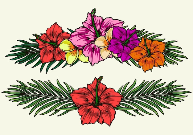 Egzotyczne kolorowe kwiaty na białym tle