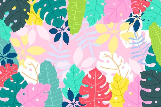 Egzotyczne kolorowe liście tło do komunikacji wideo