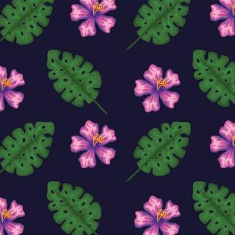 Egzotyczne kwiaty z tropikalnymi liśćmi patern