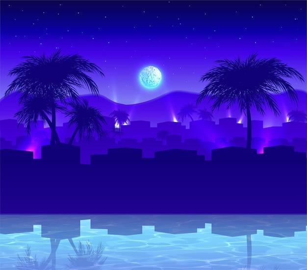 Egzotyczne miasto nocą w stylu kreskówki