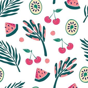 Egzotyczne owoce i rośliny dżungli wzór. kiwi, plastry arbuza, wiśnie i jagody. współczesny kwiatowy wzór. tekstylny projekt graficzny stroju kąpielowego do druku. wektor