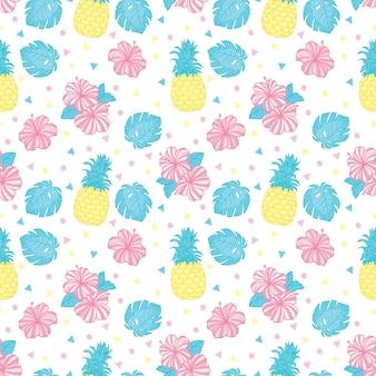 Egzotyczne owoce na białym tle. bezszwowe tło z ananasami