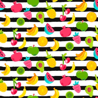 Egzotyczne owoce na paski wzór