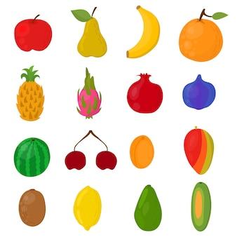 Egzotyczne owoce ręcznie rysowane. jasne jagody i owoce na białym tle. ilustracja wektorowa.