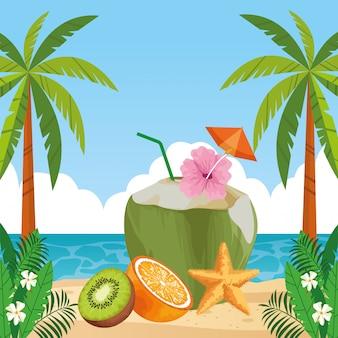 Egzotyczne owoce tropikalne ikona kreskówka