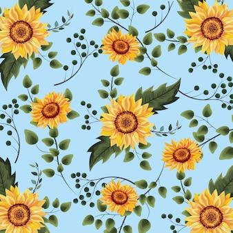 Egzotyczne słoneczniki zasadzają z gałąź tłem