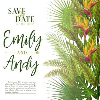 Egzotyczne tropikalne zaproszenie na ślub