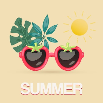 Egzotyczni lato okulary przeciwsłoneczni z tropikalnymi liśćmi i słońce ilustracją. tropikalne lato na plakat na plaży, blog podróżniczy, okulary przeciwsłoneczne w kształcie jagód.