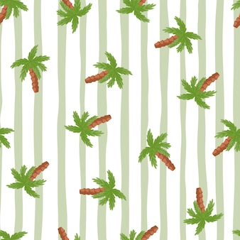 Egzotyczny bezszwowe doodle wzór z zielonymi losowymi elementami drzewa palmowego. szare pasiaste tło. przeznaczony do projektowania tkanin, nadruków na tekstyliach, zawijania, okładek. ilustracja wektorowa.