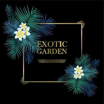 Egzotyczny ogród ze złotą ramą z szablonem tekstu