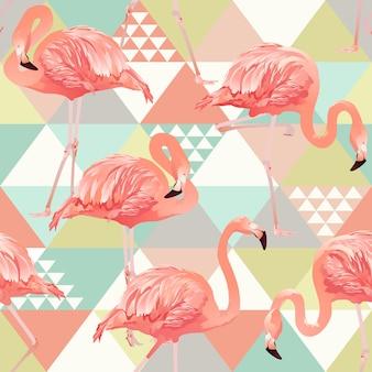 Egzotyczny plażowy modny bezszwowy wzór z różowymi flamingami.