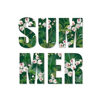 Egzotyczny projekt letni. tropikalne kwiaty orchidei i liście tło... t-shirt moda graficzny.