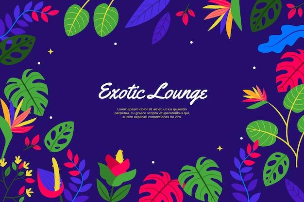 Egzotyczny salon zielone liście tło