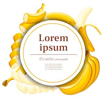 Egzotyczny wzór. banan i plasterki bananów. koncepcja pocztówki i reklamy. białe kółko z miejscem na twój tekst. ilustracja na ozdobny plakat