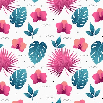 Egzotyczny wzór kwiatowy z liśćmi