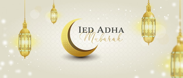 Eid adha mubarak banner with gold lantern and eclipse moon sparkling lights
