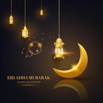 Eid adha mubarak kartkę z życzeniami czarne złoto z islamskim wzorem półksiężyca i latarni