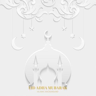 Eid adha mubarak kartkę z życzeniami w kolorze białym z meczetem i teksturą kwiatowy wzór islamski wzór
