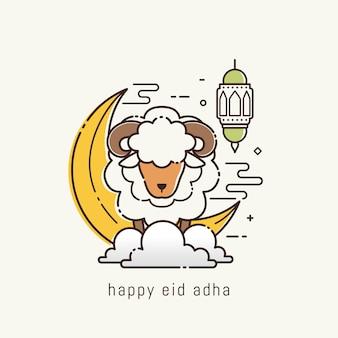 Eid adha mubarak z grafiką liniową
