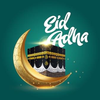 Eid adha z kabah i złotym półksiężycem
