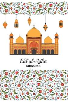 Eid al adha islamski arabski meczet lampiony arabeska kwiatowy wzór gałęzie z kwiatami...