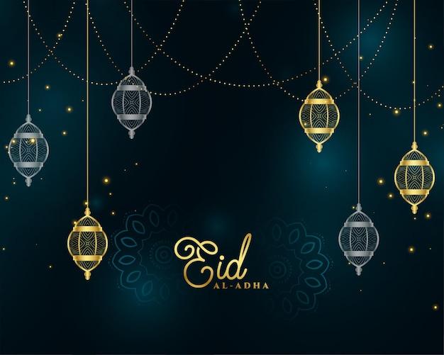 Eid al adha islamskie złote tło premium