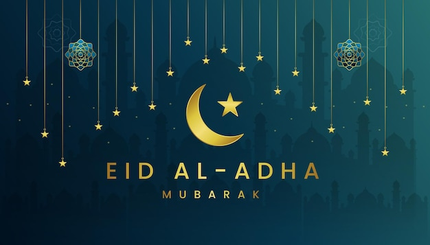 Eid al adha kartkę z życzeniami z gradientową zieloną toską i złotym motywem kolorystycznym.