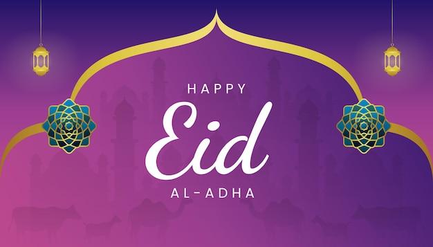 Eid al adha kartkę z życzeniami z motywem gradientu fioletowy i złoty kolor.