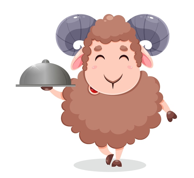 Eid al adha mubarak kreskówka owca ofiarna na obchody tradycyjnego święta muzułmańskiego zabawna postać ram
