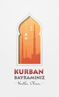 Eid-al-adha mubarak muzułmański baner świąteczny kurban bayraminiz plakat z życzeniami pionowy
