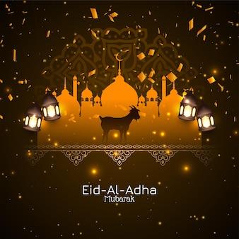Eid al adha mubarak obchody islamskiego pozdrowienia tło wektor