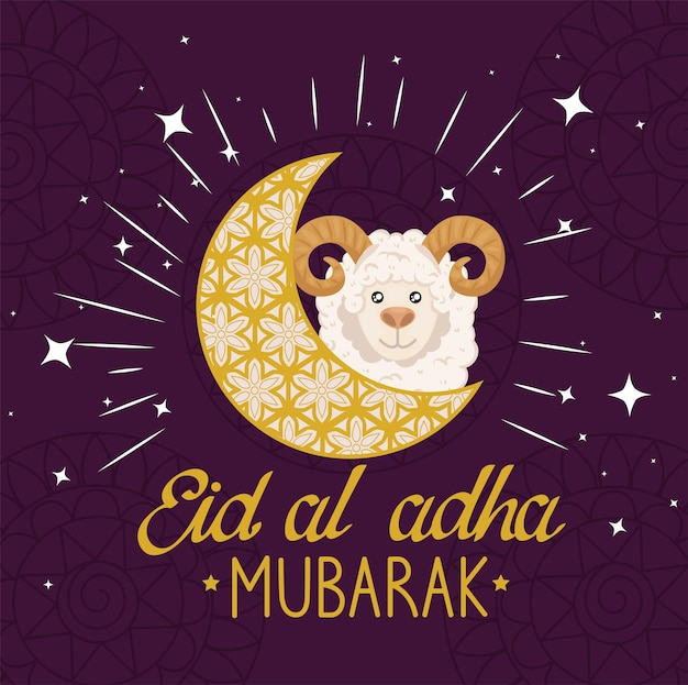 Eid al adha mubarak owca na księżycu