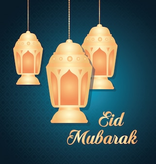 Eid al adha mubarak, święto szczęśliwej ofiary, z wiszącą dekoracją latarni