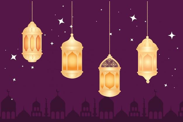Eid al adha mubarak, święto szczęśliwej ofiary, z wiszącymi lampionami i sylwetką arabskiego miasta ilustracyjnego