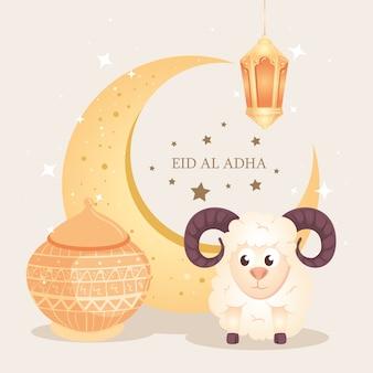 Eid al adha mubarak, święto szczęśliwych ofiar, z kozą i tradycyjnymi ikonami